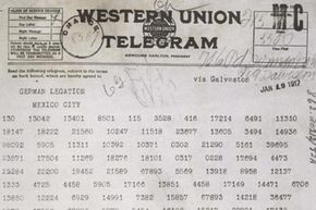 The Zimmerman Telegram, which was sent from Germany in a numeric code, was decoded by the British and is partially responsible for the U.S. involvement in World War I.  It's one of the world's most famous cryptograms.