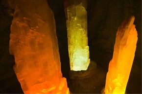Giant quartz crystals from Mexico are lit up for their admirers at the Crystal Caves Museum in Atherton, Australia.
