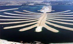 An aerial shot of the artificial Palm Jumeirah in Dubai