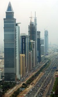 Dubai's main stretch is lined with unusual skyscrapers.