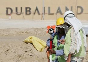 Construction workers on the site of Dubailand