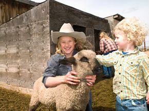Children pet a lamb at a ranch in Montana.