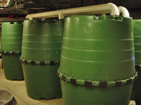 Water collection cisterns fill the basement of Duke's Smart Home.