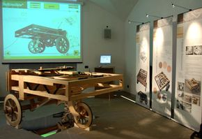 A working model of Leonardo Da Vinci's car on display at the Museum of the History of Science in Florence, Italy. This model, based on sketches drawn by Leonardo, is considered by some to be the world's first self-propelled wagon.