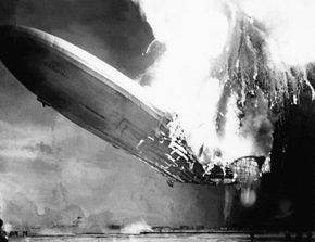 The Hindenburg explosion on May 6, 1937, at Lakehurst, New Jersey.