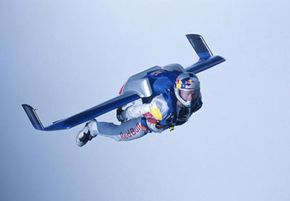 Austrian extreme sky diver Felix Baumgartner during a practice flight above England.