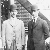 Orville and Wilbur Wright became the first to fly a heavier-than-air machine.