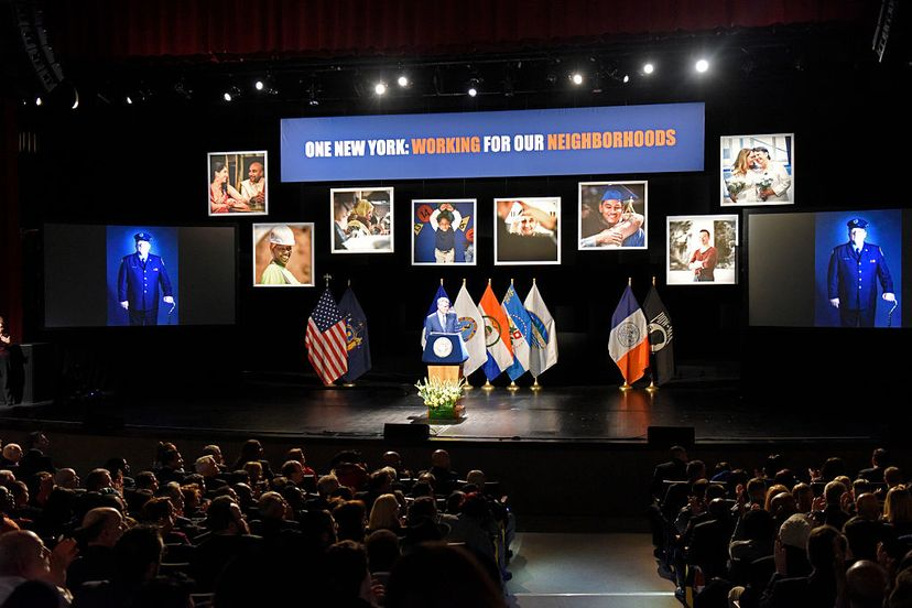 NYC mayor Bill de Blasio delivered an address at an event honoring FDNY member Ray Pfeifer who died of a rare cancer believed to have come from 8 months' duty at Ground Zero.  Pfeifer was an activist for expanded benefits. Andy Katz/Pacific Press/LightRocket via Getty Images)