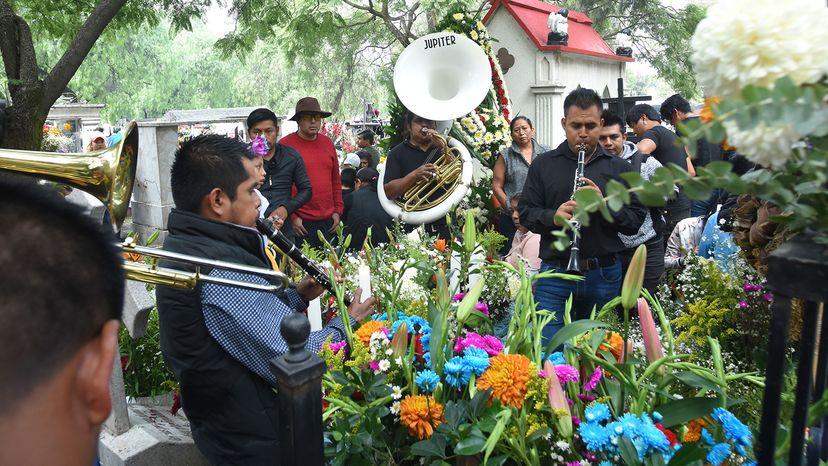 Band playing at tomb