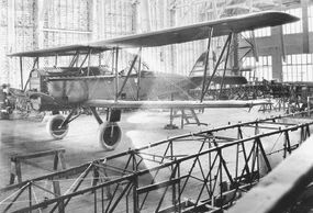 A De Havilland DH-4 rests in an American factory during World War I. By the time the DH-4 entered production in the U.S., it had been superseded by de Havilland's DH-9.
