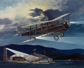"""At war's end in 1918, many De Havilland DH-4s were burned in France in what became known as the """"Billion Dollar Bonfire."""" Examples that escaped this sort of foolish destruction were pressed into service in the U.S., where day and night mail runs, as seen here, were common."""