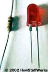 A resistor and an LED