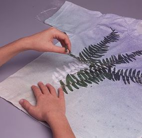 Remove the fern fronds, and let the shirt dry.