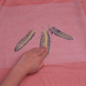 Cover the feathers with waxed paper, and gently rub the feathers.