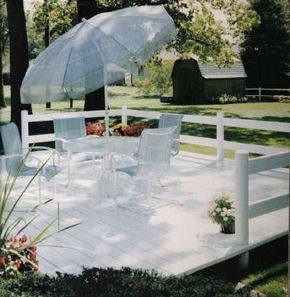 This PVC vinyl deck is a great spot for family time or entertaining the neighbors.
