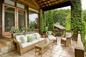 A couple of cheap folding chairs and a table just won't cut it for your new outdoor living space. See more deck and patio decor pictures.