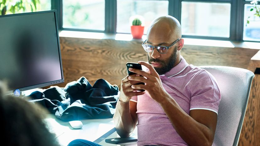 man on his smartphone