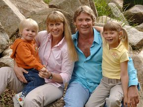 """Steve Irwin, """"The Crocodile Hunter"""" with his family in April 2006."""