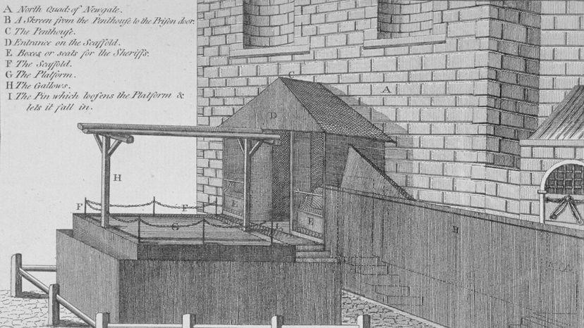 platform and gallows at Newgate Prison