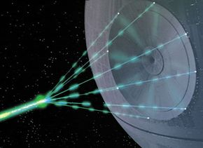 The main cannon and eight tributary lasers fire beams that converge at the outer perimeter of the Superlaser dish in an amplification nexus.