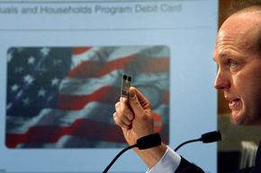 A debit card linked to an account containing federal emergency funds was one of the ways the U.S. government administered financial relief to victims of Hurricane Katrina in 2005. See more banking pictures.