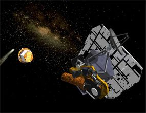 Artist concept: Impactor (left) separating from the flyby and heading toward Tempel 1