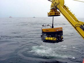 Remote Operated Vehicle Super Scorpio is retrieved after completing a pod delivery exercise during Sorbet Royal 2002.
