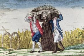 """Complaining about the national debt is nothing new.  This engraving from 1789 has the caption:  """"Everybody carry the burden of Taxes and National Debt."""""""