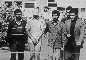 An American hostage is shown at the United States embassy in Tehran.