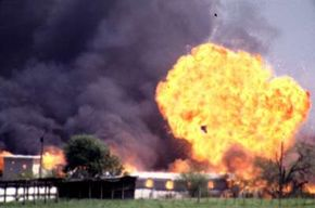 The Branch Davidian compound at Waco, Texas, after a siege by federal agents.