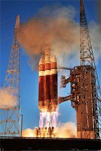 Delta IV rocket lifting off.
