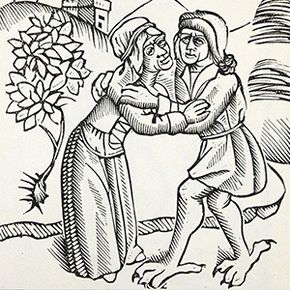 The feet of an incubus from a 1489 woodcut.