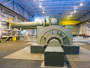 A turbine at the Geysers power plant in California generates electricity from geothermal sources.