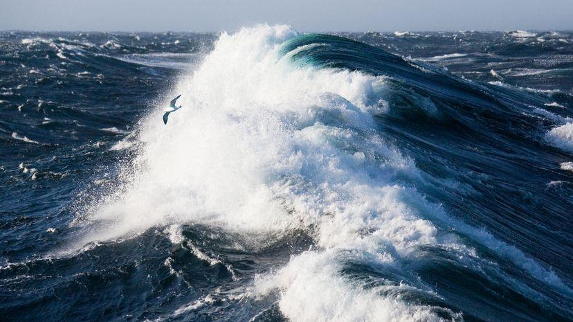 Waves crash in the Denmark Strait