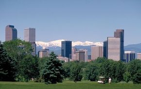 Photo courtesy ©2006 Denver CVB                                  Denver is full of contrasts, encompassing the urban skyscrapers of the downtown and the nature-rich Rocky Mountains on the outskirts.