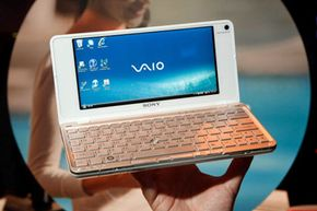 The Sony Vaio VAIO Lifestyle PC VG-P50-series computer, seen here at the 2009 Consumer Electronics Show, is a full-function PC with an 8-inch screen.