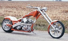 Deranged is a custom motorcycle with a cohesive design featuring sleek bodywork and unusual graphics. See more chopper pictures.