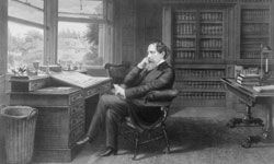 Charles Dickens sits in his study in Gads Hill near Rochester, Kent, circa 1860.