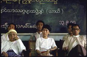 Burmese opposition leaders U Nu (L), Aung San Suu Kyi (C) and General Tin Oo (R)