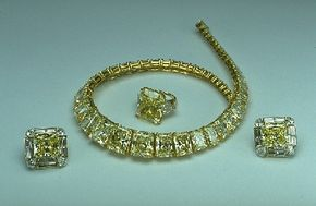 The Hooker Diamond necklace, earrings and ring on display at the National Museum of Natural History. See more diamond pictures.