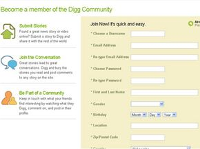 Digg's registration page