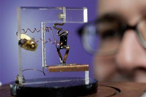 A replica of the first transistor. Moore's Law predicts the size of transistors will decrease by half every 24 months.