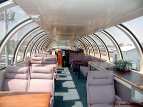 For first-class passengers on this train, there is an observation car that has a sunroom upstairs and a bar.