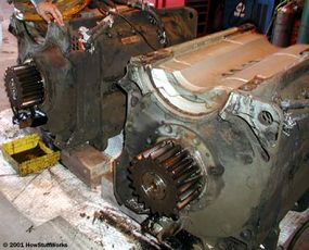 Two of the traction motors removed from a truck