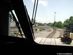 The view from the cab of the locomotive
