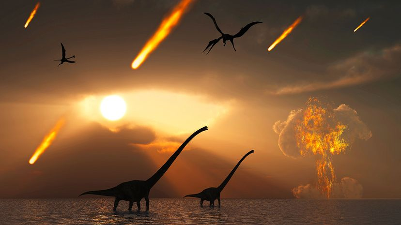 The last days of the dinosaurs occurred during the Cretaceous Period, when an object known as the Chicxulub impactor struck a shallow sea near what is now the Yucatan Peninsula. Stocktrek Images/Getty Images