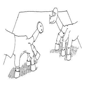 Dinosaur finger puppets in action.