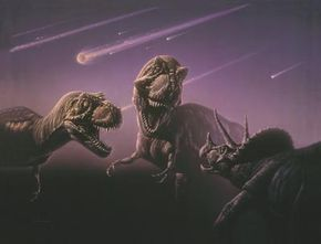 A Triceratops is chased by two Tyrannosaurs. See more dinosaur pictures.
