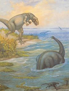 Allosaurus watches Camarasaurus in the water