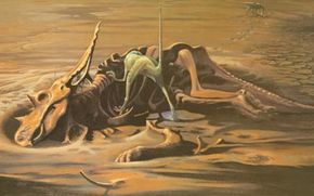 The scavenger Dromaeosaurus finds a carcass of Chasmosaurus
